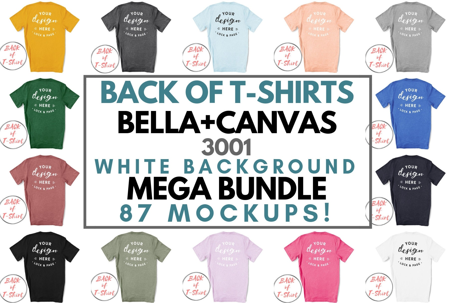 Back Of T-Shirt Bella Canvas 3001 Mockup Mega Bundle All Colors On Plain  White Background Clean Simple Clear Backdrop T Shirt Backs Mockups