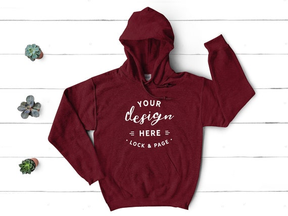 Antique Cherry Red Adult Gildan Plain Hooded Heavy Blend Pullover mens hoodie