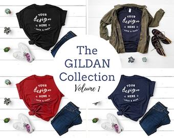 Gildan Apparel TShirt Mockup Bundle T-Shirt Flat Lay Gildan Shirt Fashion Mock Up Black Navy Red T Shirt Bundle White Wooden Floor Backdrop