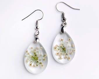 Resin earrings with flowers-real flower of wild carrot-