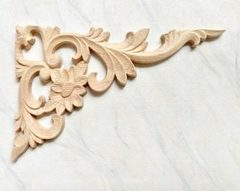 Corner Appliques, Furniture Appliques, Wood Onlay, Furniture Corner  Decoration, Corner Onlay, Wood Embellishment, Wood Carving, 1 Pair 2 Pcs