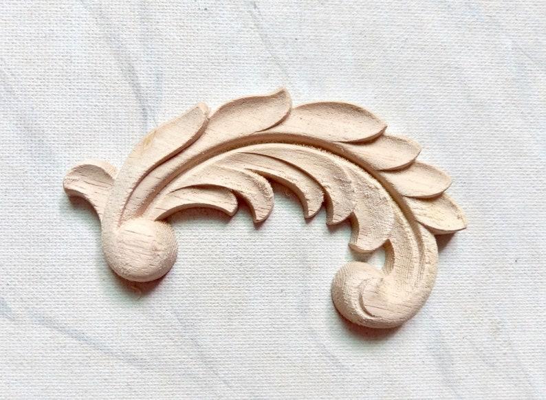 wood corners appliques wood embellishment furniture decoration Acanthus leaf corners furniture appliques wood onlay 1 pair