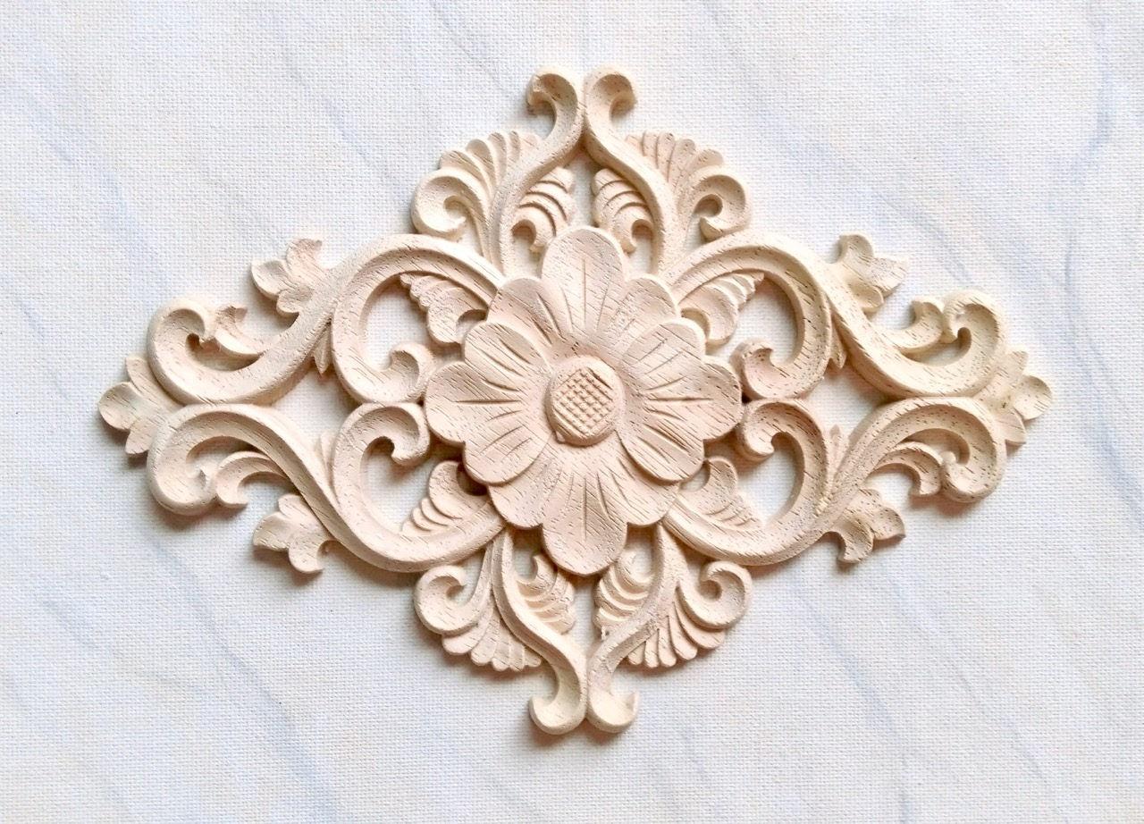 Flower wood applique furniture applique wood onlay etsy