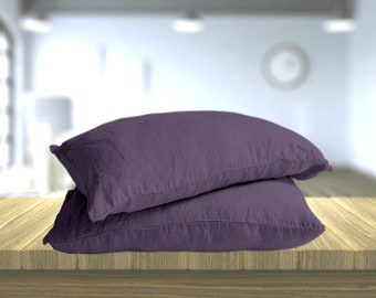 Linen pillowcases with ties, Purple