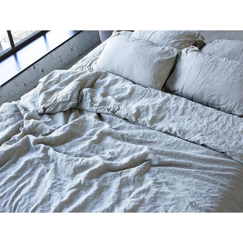 Duvet Cover Organic Gray Linen Bedding Duvet Cover King Duvet Etsy