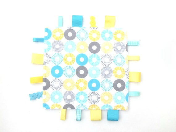 Blue and Yellow Taggy Ribbon Blanket Teething Toy Ribbon ea0f99f81