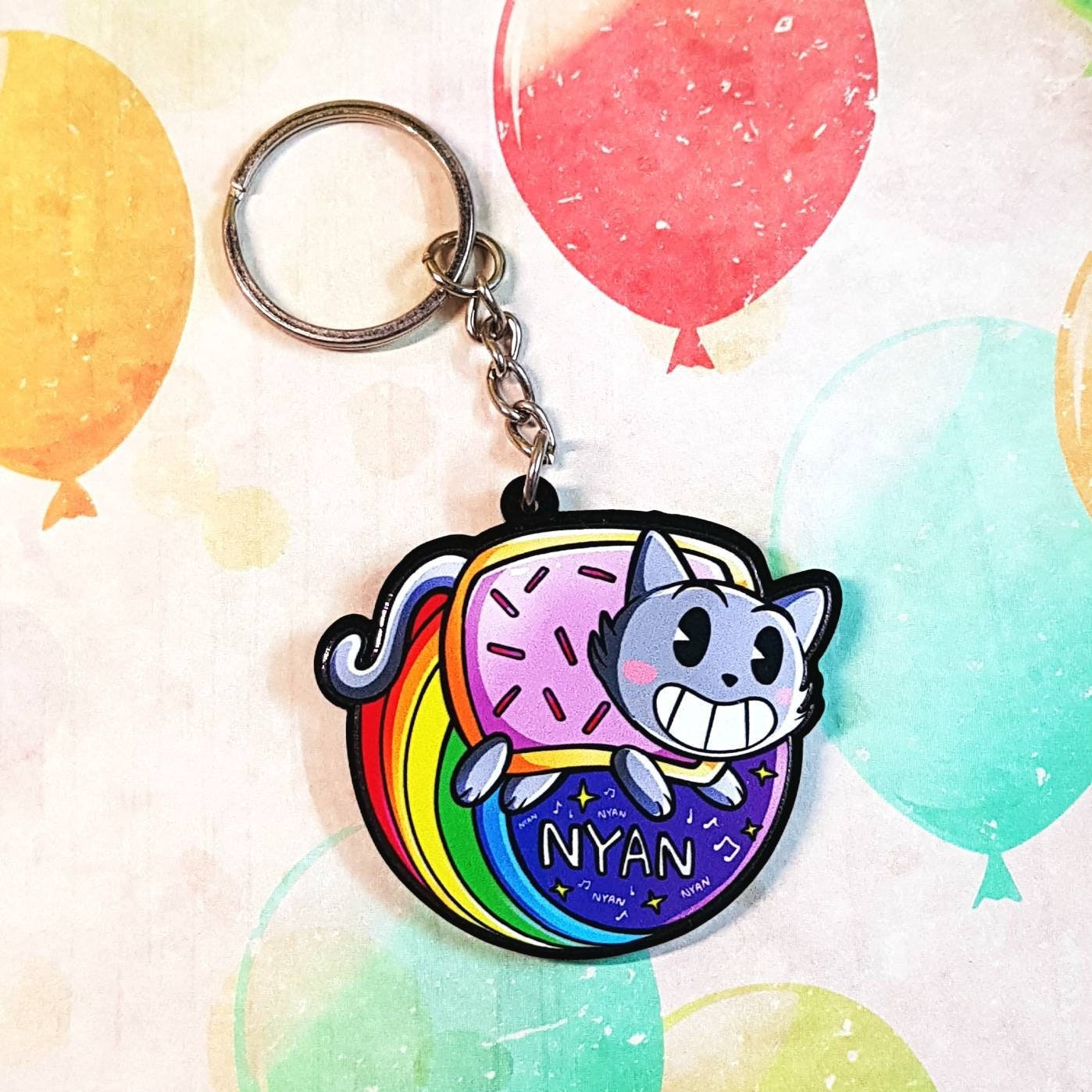 Nyan Cat Keychain, Internet Meme, Cartoon, Cat, Poptart, Funny, Cute,  Kawaii, Screwball, 1930s Cartoon, Inspired