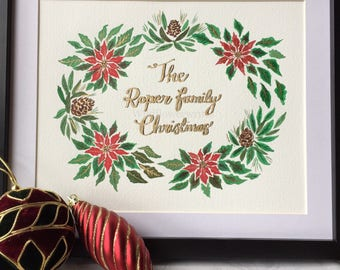 Personalised Family Christmas artwork with Poinsettias