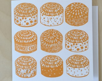 Dundee Cakes Greeting Card / Scottish Art / Dundee Delights / Illustrated Card / Blank Card / Dundee Cake / Cake Card / Yellow Card
