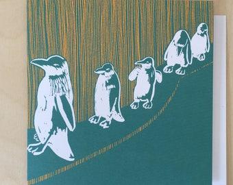 Dundee Penguin Parade Greetings Card / Dundee Delights / Penguin Card / Blank Card / Birthday Card / Dundee Art / Animal Art / Marrs Green