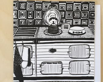 Patterned Aga Greetings Card in Black / Blank Card / Food Lover Card / Notecard / Black and White Card / Aga / Illustrated Card