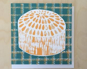 Dundee Cake on checked background Greetings Card / Scottish Art / Illustrated Card / Blank card / Tartan / Cake Art