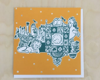The Wellgate Clock Greetings Card / Clock illustration / Dundee illustration