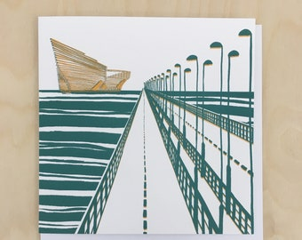 V&A Dundee Greetings Card / Dundee illustration / Blank Card / V+A Card / Architecture illustration