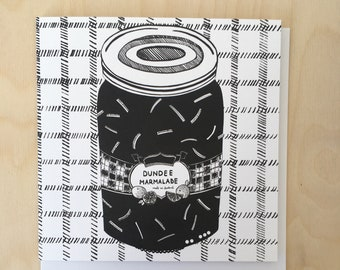 Dundee Marmalade Greetings Card / Scottish Art / Illustrated card / Black and white