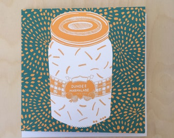 Dundee Marmalade Greetings Card in Sunshine Yellow and Marrs Green / Illustrated Card / Blank Card / Scottish Art