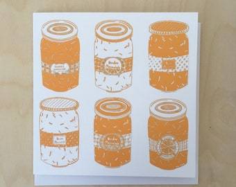 9 Dundee Marmalade Greetings Card in Sunshine Yellow / Scottish Art / illustrated card / black card