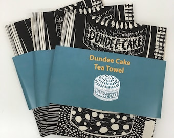 Dundee Cake Tea Towel / Cake Art / Cake Fabric / Screen Printed in UK / Illustrated tea towel / Scottish Gift / illustrated by Louise Kirby