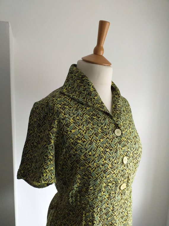 40's 50's Dress Lime Green Geometric Print MEDIUM