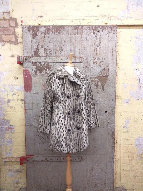 60's Leopard Print Faux Fur Coat Jacket by WWF Ast