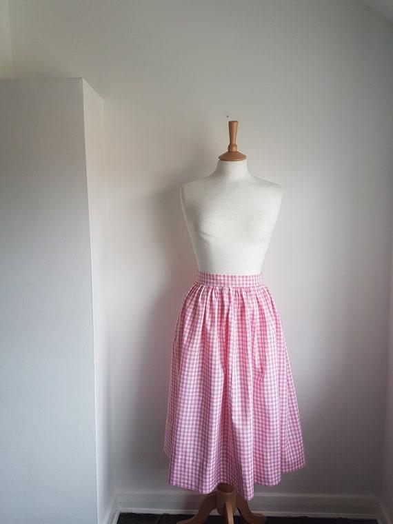 "50's Skirt Pink Gingham Cotton 26"" Waist SMALL Sug"