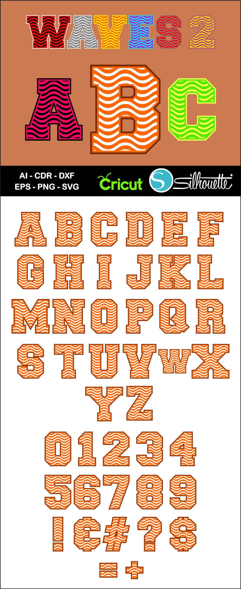 Buy 2 get 1 free, Waves Alphabet font, Ai, CDR, Eps, SVG, Dxf, Png, Wave  Letters, Font svg, Cricut, Silhouette Studio, Waves pattern