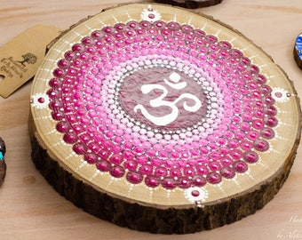 OM Magenta Dot Mandala on Wood   Home Decor