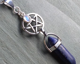 Lapis Lazuli Point & Silver Rainbow Moonstone Charm Pentagram Pendant