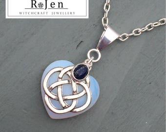 Opalite Heart & Lapis Lazuli 4 Element Celtic Knot Pendant