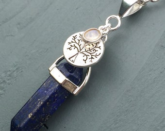 Silver Plated Lapis Lazuli Point & Tree of Life Rainbow Moonstone Pendant