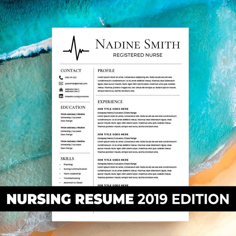 Nursing Resume Template Medical Assistant Nurse Student Physician EMS Paramedic CV RN