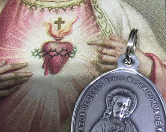 Sacred Heart and Immaculate Heart Pendant in White Bronze