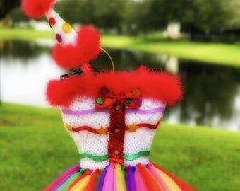 Clown Tutu Dress and Clown Hat Headband Set