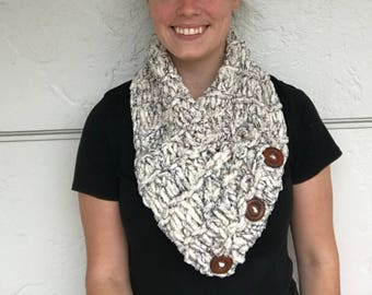 Cowl Scarf with Buttons - Cowl Scarf - Knitted Scarf - Neck Scarf