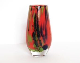 Pottery, Porcelain & Glass Creative Vintage Riihimaki Red Glass Vase By Tamara Aladin Consumers First Scandinavian