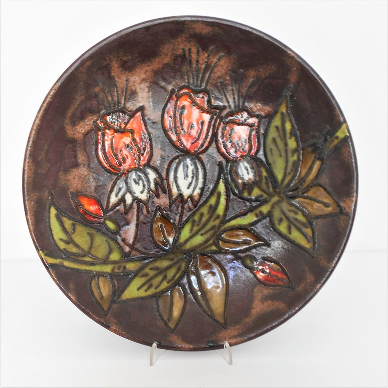 West German Vintage Wall Plate  Centerpiece by Ruscha Roses Decor 717  2 Handmade