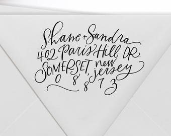 Custom Return Address Stamp / Self Inking Available / Hand Lettered Personalized Wedding Engagement Gift / Christmas Stamp / Engagement Gift