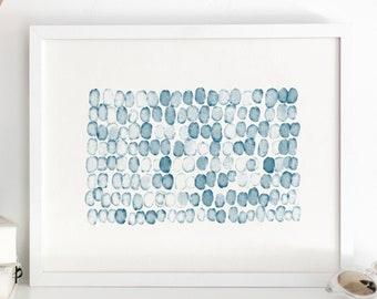 Sea Spots Watercolor Wall Art / Abstract Painting / Shades of Navy Blue Nautical Wall Decor / Nursery Art