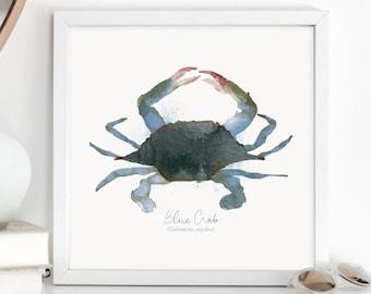 Maryland Blue Crab Watercolor Wall Art / Illustration Painting / Blue and Green Wall Decor / Nautical Art