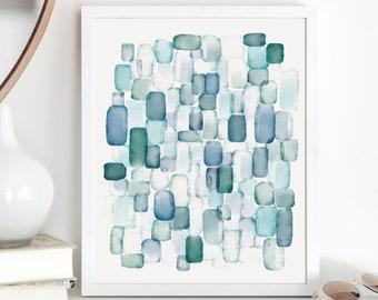 Sea Glass Watercolor Wall Art / Abstract Painting / Blue and Green Wall Decor / Nautical Art