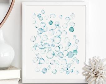 Ocean Bubbles Watercolor Wall Art / Abstract Painting / Shades of Blue Nautical Wall Decor / Nursery Art