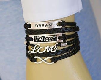 Dream Believe Infinity Love Multi Strand Bracelet, Leather Bracelet, Charm Bracelet, Friendship Bracelet, Gift Bracelet