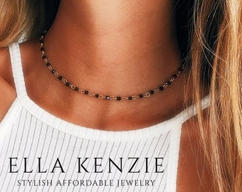 Black Chain Lightning Necklace Black Crystal Rosary Bead Choker Gift For Her