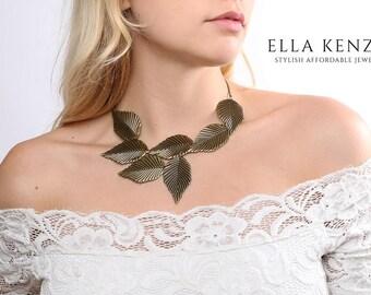 Leaf Necklace, Leaf Jewelry, Leaf Pendant Necklace, Leaf Statement Necklace, Leaf Bib Necklace, Leaf Collar Necklace