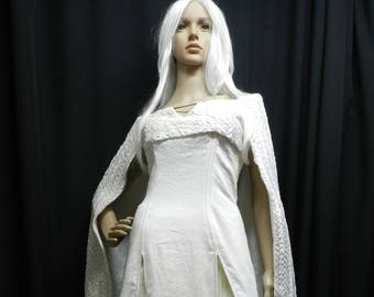 Inspired by Game Of Thrones Daenerys Targaryen white dragon scales dress season 5 Custom made to your size