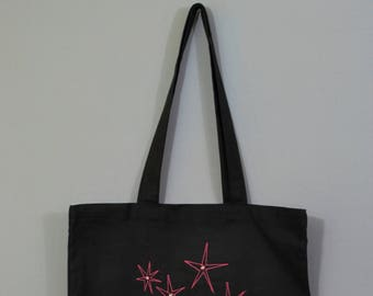 Embroidered Flower Stars Tote Bag - Option of embroidered name personalisation on back - Great Gift