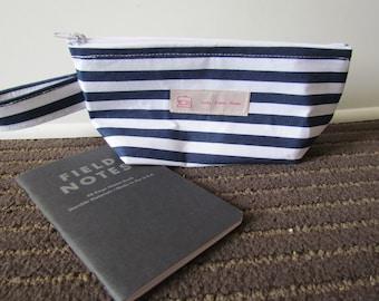 Blue striped wedge bag