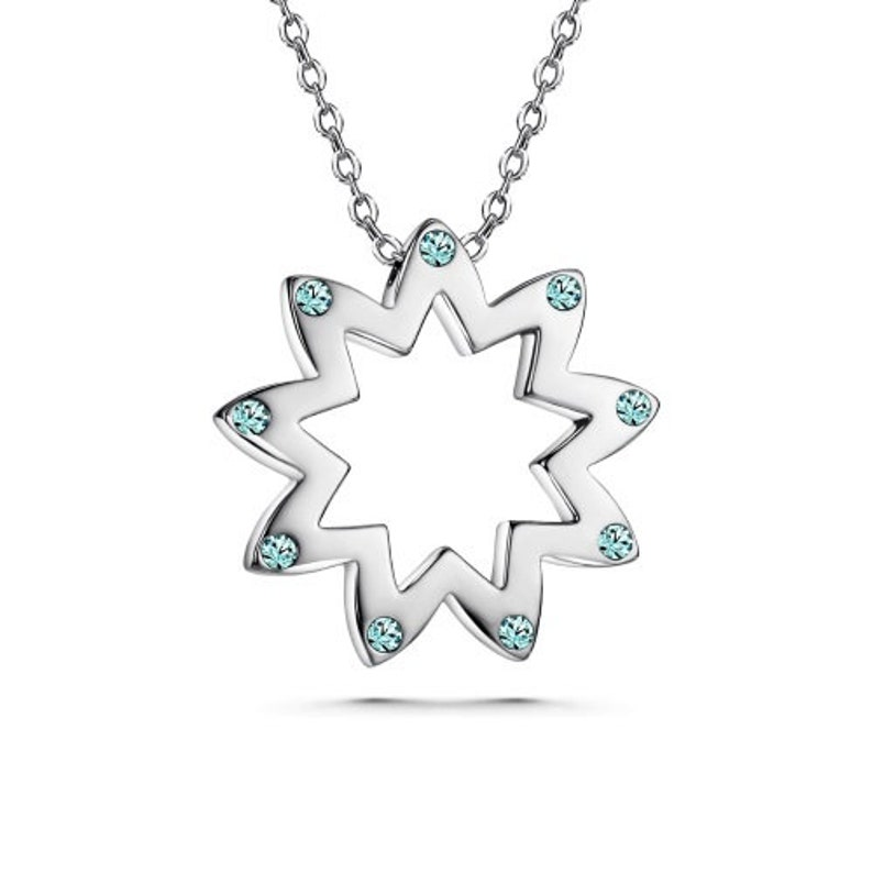 91b0e973abe Baha'i 9 Point Star Floral Pendant Necklace with Swarovski   Etsy