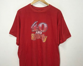 Vintage T-shirt 80s Iron on Print 40 And Sporty Nice Design Size L Rare!!
