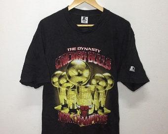 7f89e95ed Vintage 90s Tees The Dynasty Chicago Bulls NBA Champions Big Logo Starter Large  Size Nice Design